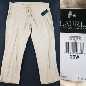 Lauren by Ralph Lauren 100% Linen Tan Crop Pants